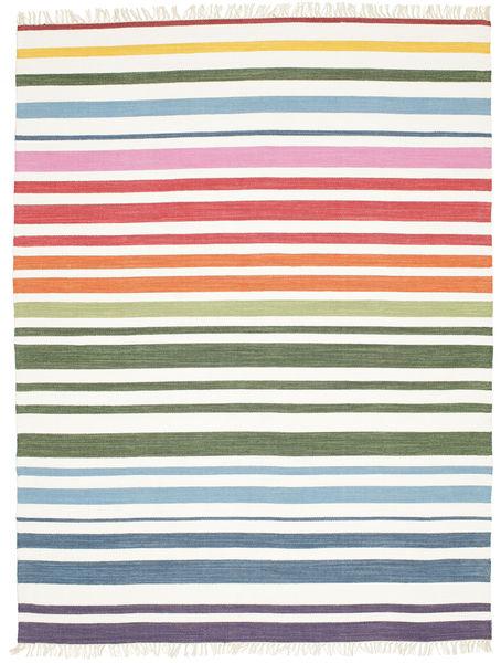 Rainbow Stripe - Hvid Tæppe 200X250 Ægte Moderne Håndvævet Beige/Hvid/Creme (Bomuld, Indien)