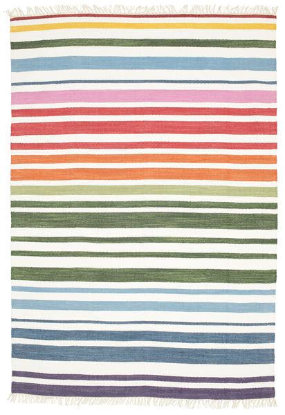 Rainbow Stripe - Hvid Tæppe 160X230 Ægte Moderne Håndvævet Hvid/Creme (Bomuld, Indien)