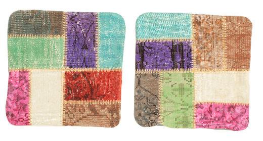 Patchwork Pudebetræk Tæppe 50X50 Ægte Orientalsk Håndknyttet Kvadratisk Beige/Rust (Uld, Tyrkiet)