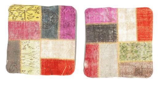 Patchwork Pudebetræk Tæppe 50X50 Ægte Orientalsk Håndknyttet Kvadratisk Beige/Mørk Beige (Uld, Tyrkiet)