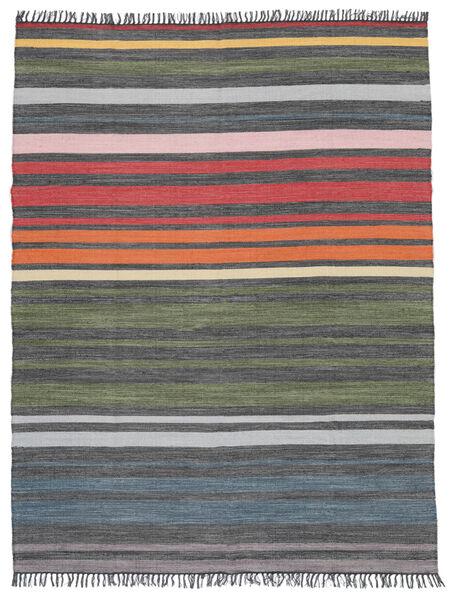 Rainbow Stripe - Grå Tæppe 250X300 Ægte Moderne Håndvævet Mørkegrå/Olivengrøn Stort (Bomuld, Indien)