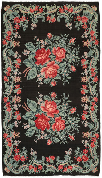 Rose Kelim Tæppe 186X331 Ægte Orientalsk Håndvævet Mørkegrå/Mørkegrøn (Uld, Moldova)