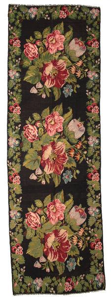 Rose Kelim Moldavia Tæppe 170X530 Ægte Orientalsk Håndvævet Tæppeløber Mørkegrå/Mørkebrun (Uld, Moldova)