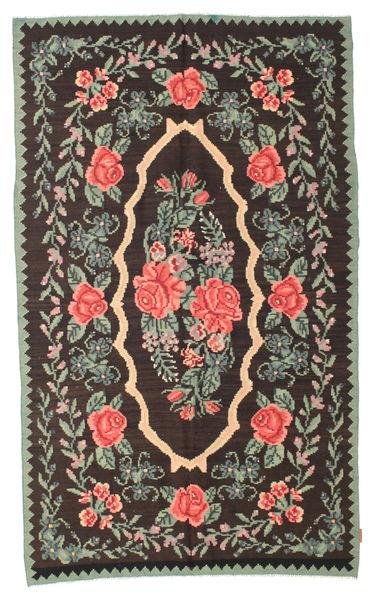 Rose Kelim Moldavia Tæppe 154X258 Ægte Orientalsk Håndvævet Mørkebrun/Mørkegrå (Uld, Moldova)