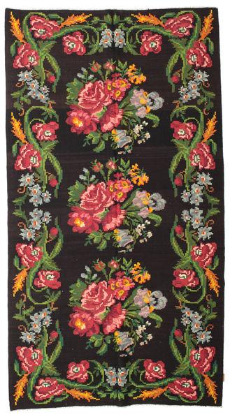 Rose Kelim Moldavia Tæppe 180X327 Ægte Orientalsk Håndvævet Sort/Mørkegrøn (Uld, Moldova)