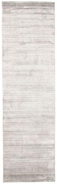 Bambus Silke Loom - Warm Grå Tæppe 80X300 Moderne Tæppeløber Lysegrå/Hvid/Creme ( Indien)
