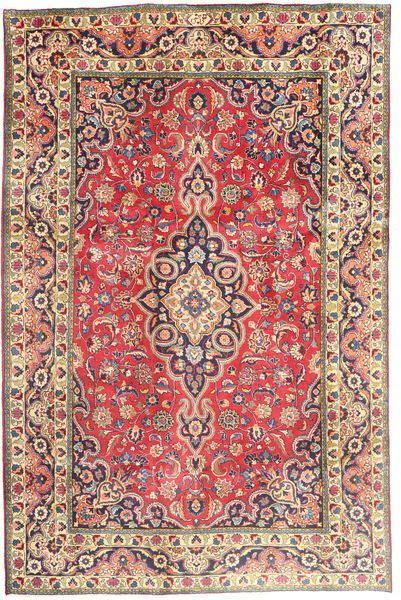 Tabriz Tæppe 194X290 Ægte Orientalsk Håndknyttet Rust/Mørkegrå (Uld, Persien/Iran)