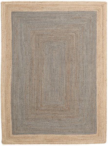 Udendørs Tæppe Frida Frame - Grå/Natural Tæppe 160X230 Ægte Moderne Håndvævet Lysegrå/Beige (Jutetæppe Indien)