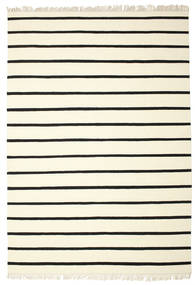 Dorri Stripe - Hvid/Sort Tæppe 220X320 Ægte Moderne Håndvævet Beige/Hvid/Creme (Uld, Indien)