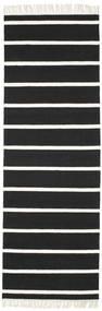 Dorri Stripe - Sort/Hvid Tæppe 80X250 Ægte Moderne Håndvævet Tæppeløber Sort/Hvid/Creme (Uld, Indien)