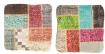 Patchwork Pudebetræk Tæppe 50X50 Ægte Orientalsk Håndknyttet Kvadratisk Mørkebrun/Lysgrøn (Uld, Tyrkiet)