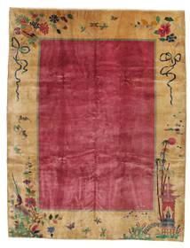 Kina Antik: Art Deco 1920 Tæppe 275X360 Ægte Orientalsk Håndknyttet Lysebrun/Rød/Mørkerød Stort (Uld, Kina)