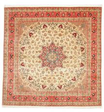 Tabriz 50 Raj Med Silke Tæppe 292X298 Ægte Orientalsk Håndknyttet Kvadratisk Beige/Rust Stort (Uld/Silke, Persien/Iran)