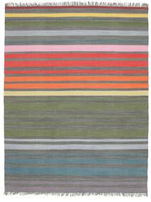 Rainbow Stripe - Grå Tæppe 200X250 Ægte Moderne Håndvævet Lysegrå/Olivengrøn (Bomuld, Indien)