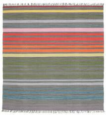 Rainbow Stripe - Grå Tæppe 200X200 Ægte Moderne Håndvævet Kvadratisk Mørkegrå/Lysegrå (Bomuld, Indien)