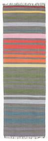 Rainbow Stripe - Grå Tæppe 80X250 Ægte Moderne Håndvævet Tæppeløber (Bomuld, Indien)