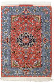 Isfahan Silketrend Signatur: Haghighi Tæppe 150X220 Ægte Orientalsk Håndknyttet Mørkegrå/Mørkerød (Uld/Silke, Persien/Iran)