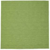 Kelim Loom - Grøn Tæppe 300X300 Ægte Moderne Håndvævet Kvadratisk Olivengrøn/Lysgrøn Stort (Uld, Indien)