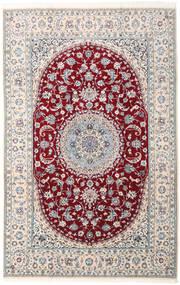 Nain 9La Tæppe 202X315 Ægte Orientalsk Håndknyttet Lysegrå/Mørkerød (Uld/Silke, Persien/Iran)