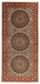 Tabriz 60 Raj Silketrend Tæppe 200X450 Ægte Orientalsk Håndknyttet Tæppeløber Brun/Mørkebrun (Uld/Silke, Persien/Iran)