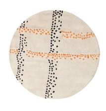 Delight Handtufted - Orange Tæppe Ø 150 Moderne Rundt Beige/Lysegrå (Uld, Indien)