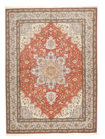 Tabriz 50 Raj Tæppe 150X208 Ægte Orientalsk Håndknyttet Lysegrå/Brun (Uld/Silke, Persien/Iran)