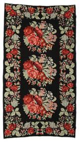 Rose Kelim Moldavia Tæppe 174X321 Ægte Orientalsk Håndvævet Sort/Mørkebrun (Uld, Moldova)