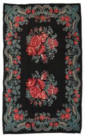 Rose Kelim Moldavia Tæppe 191X310 Ægte Orientalsk Håndvævet Sort/Mørkegrå (Uld, Moldova)