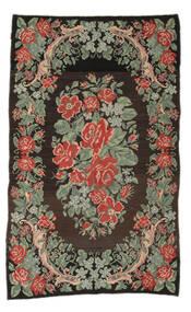 Rose Kelim Moldavia Tæppe 161X263 Ægte Orientalsk Håndvævet Tæppeløber Mørkegrå/Lysgrøn (Uld, Moldova)