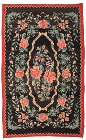 Rose Kelim Moldavia Tæppe 166X268 Ægte Orientalsk Håndvævet Sort/Mørkegrå (Uld, Moldova)