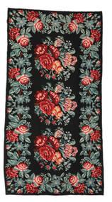 Rose Kelim Moldavia Tæppe 170X326 Ægte Orientalsk Håndvævet Sort/Mørkegrå (Uld, Moldova)