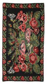 Rose Kelim Moldavia Tæppe 170X310 Ægte Orientalsk Håndvævet Sort/Mørkerød (Uld, Moldova)