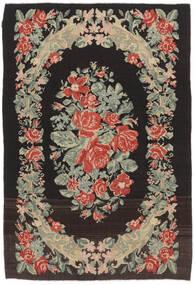 Rose Kelim Moldavia Tæppe 169X252 Ægte Orientalsk Håndvævet Sort/Mørk Beige (Uld, Moldova)