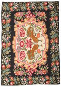 Rose Kelim Moldavia Tæppe 205X290 Ægte Orientalsk Håndvævet Sort/Olivengrøn (Uld, Moldova)
