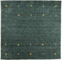 Gabbeh Loom Two Lines - Mørkegrå/Grøn Tæppe 200X200 Moderne Kvadratisk Mørkegrøn/Mørke Turkis (Uld, Indien)