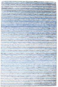 Bambus Silke Handloom Tæppe 202X304 Ægte Moderne Håndknyttet Lyseblå/Beige ( Indien)