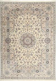 Nain 6La Habibian Tæppe 242X348 Ægte Orientalsk Håndknyttet Lysegrå/Beige (Uld/Silke, Persien/Iran)