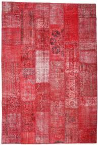 Patchwork Tæppe 201X296 Ægte Moderne Håndknyttet Rød/Rust (Uld, Tyrkiet)