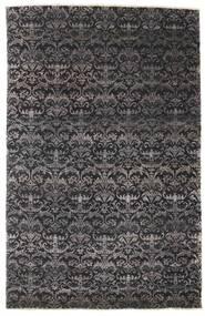 Damask Tæppe 164X255 Ægte Moderne Håndknyttet Sort/Mørkebrun ( Indien)