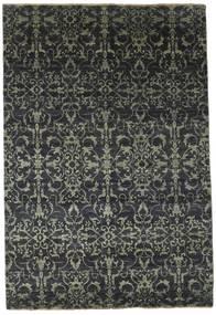 Damask Tæppe 174X257 Ægte Moderne Håndknyttet Mørkegrå/Sort ( Indien)