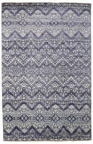 Damask Tæppe 200X305 Ægte Moderne Håndknyttet Lysegrå/Mørkegrå ( Indien)
