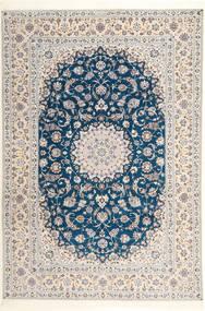 Nain 6La Habibian Tæppe 204X304 Ægte Orientalsk Håndknyttet Lysegrå/Hvid/Creme (Uld/Silke, Persien/Iran)
