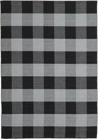 Check Kilim Tæppe 240X340 Ægte Moderne Håndvævet Sort/Lyseblå (Uld, Indien)