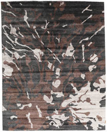 Nepal Original Tæppe 240X301 Ægte Moderne Håndknyttet Mørkegrå/Mørkebrun (Uld/Bambus Silke, Nepal/Tibet)