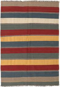 Kelim Tæppe 135X197 Ægte Orientalsk Håndvævet Mørkerød/Blå (Uld, Persien/Iran)