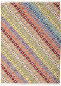 Spring Kelim Tæppe 210X290 Ægte Moderne Håndvævet Lysegrå/Mørk Beige (Uld, Indien)