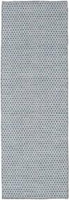 Kelim Honey Comb - Blå Tæppe 80X240 Ægte Moderne Håndvævet Tæppeløber Lyseblå/Lysegrå (Uld, Indien)