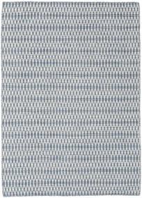 Kelim Long Stitch - Blå Tæppe 140X200 Ægte Moderne Håndvævet Lyseblå/Hvid/Creme/Lysegrå (Uld, Indien)