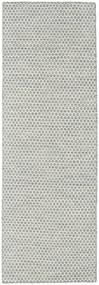 Kelim Honey Comb - Grå Tæppe 80X240 Ægte Moderne Håndvævet Tæppeløber Lysegrå/Beige (Uld, Indien)