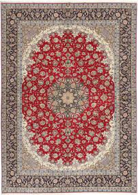 Isfahan Silketrend Tæppe 300X417 Ægte Orientalsk Håndknyttet Lysegrå/Mørkerød Stort (Uld/Silke, Persien/Iran)